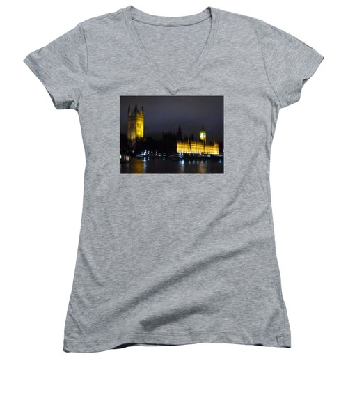 Women's V-Neck T-Shirt (Junior Cut) featuring the photograph London Late Night by Christin Brodie