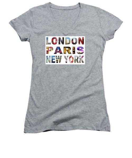 Women's V-Neck T-Shirt (Junior Cut) featuring the digital art London Paris New York, White Background by Adam Spencer