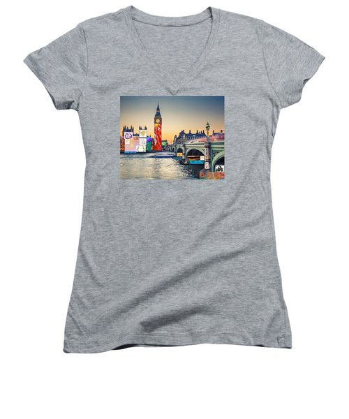 London Skyline Collage 3 Inc Big Ben, Westminster  Women's V-Neck