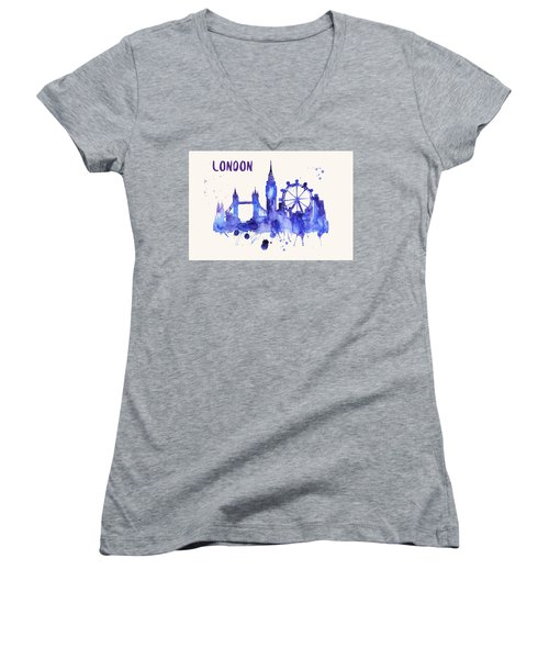 London Skyline Watercolor Poster - Cityscape Painting Artwork Women's V-Neck (Athletic Fit)