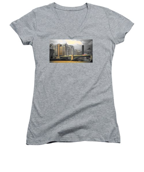 London Women's V-Neck T-Shirt (Junior Cut) by Therese Alcorn
