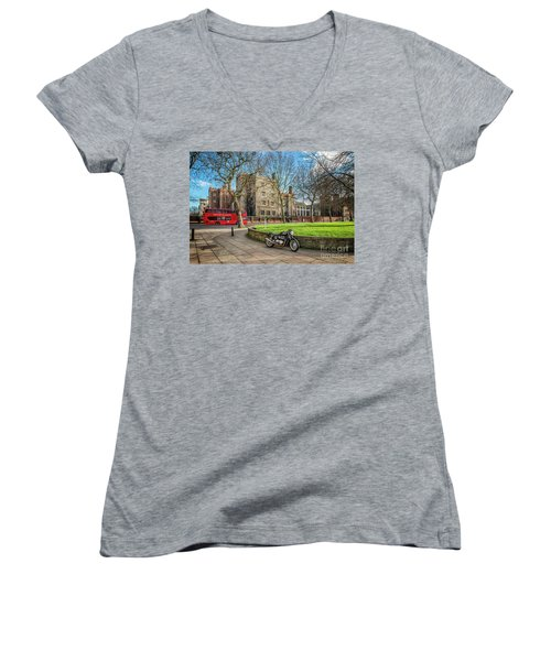 Women's V-Neck T-Shirt (Junior Cut) featuring the photograph London Transport by Adrian Evans