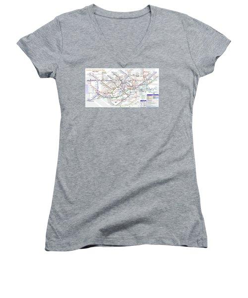 London Underground Map Women's V-Neck (Athletic Fit)