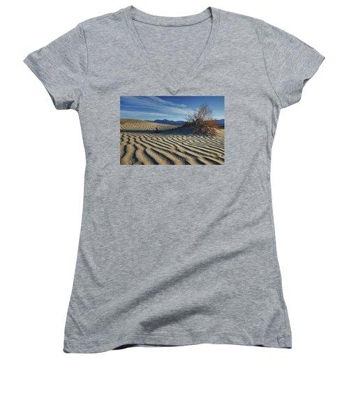 Lone Bush Death Valley Hdr Women's V-Neck T-Shirt (Junior Cut) by James Hammond