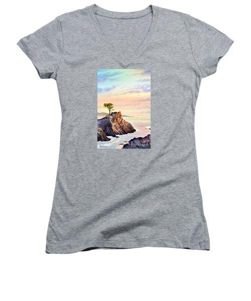 Lone Cypress Tree Pebble Beach Women's V-Neck T-Shirt (Junior Cut) by Bill Holkham