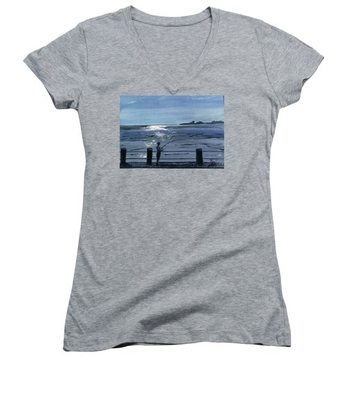 Lone Fisherman On Worthing Pier Women's V-Neck (Athletic Fit)
