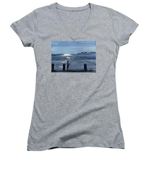 Lone Fisherman On Worthing Pier Women's V-Neck T-Shirt