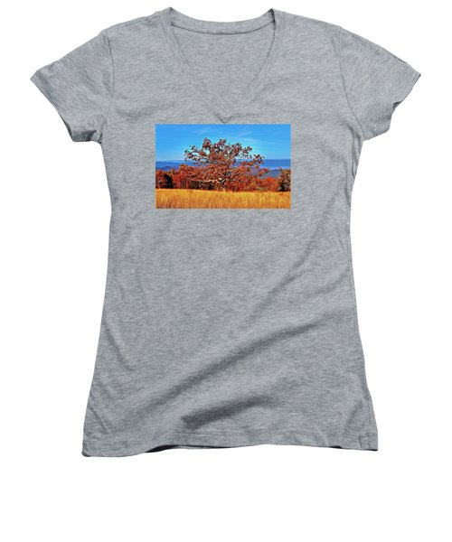 Lone Mountain Tree Women's V-Neck