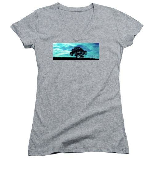 Women's V-Neck T-Shirt (Junior Cut) featuring the photograph Lone Oak by Jim and Emily Bush