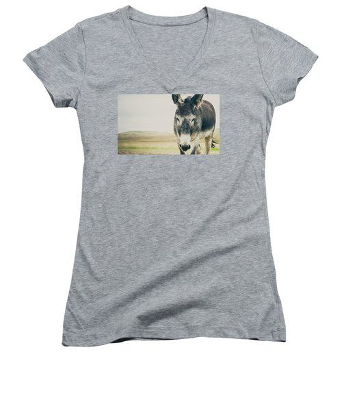 Lone Ranger Women's V-Neck T-Shirt (Junior Cut) by Cynthia Traun