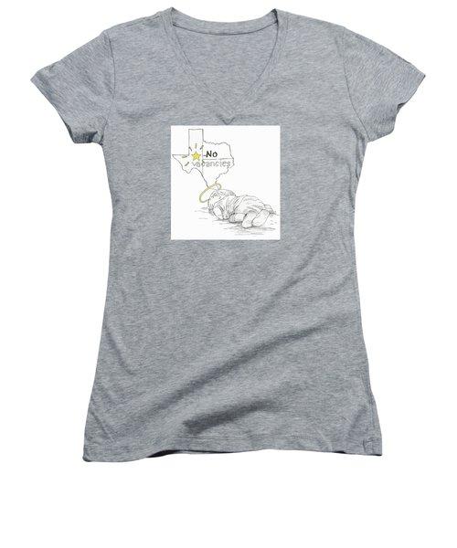 Lone Star State Of Fear Women's V-Neck T-Shirt (Junior Cut) by Steve Hunter