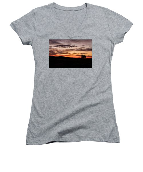 Lone Tree At Sunrise Women's V-Neck (Athletic Fit)