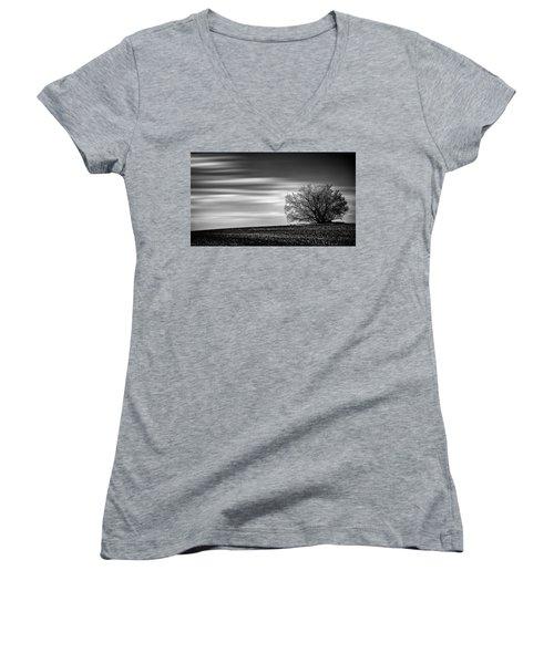 Women's V-Neck T-Shirt (Junior Cut) featuring the photograph Lone Tree by Dan Jurak