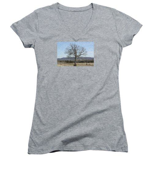Lone Tree Women's V-Neck T-Shirt (Junior Cut) by Donna G Smith