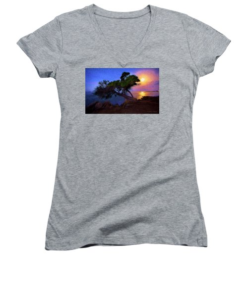 Women's V-Neck T-Shirt (Junior Cut) featuring the photograph Lone Tree On Pacific Coast Highway At Moonset by John A Rodriguez