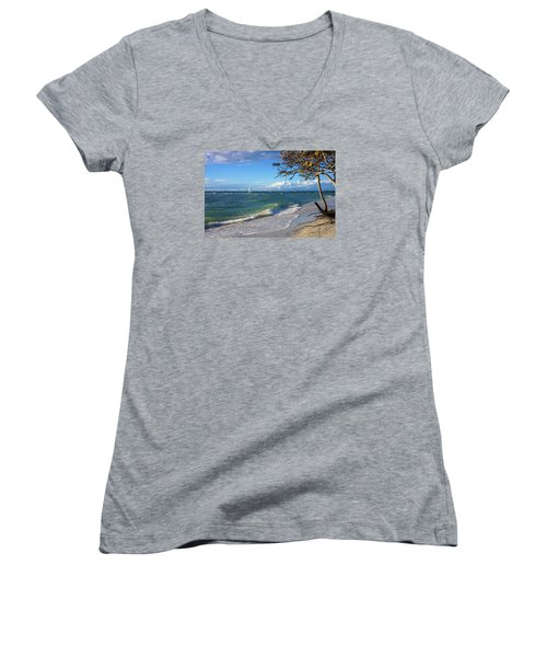 Women's V-Neck T-Shirt (Junior Cut) featuring the photograph Lone Windsurfer At Wiggins Pass by Robb Stan