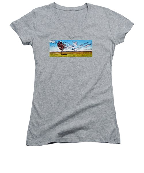 Lonely Autumn Tree Women's V-Neck (Athletic Fit)