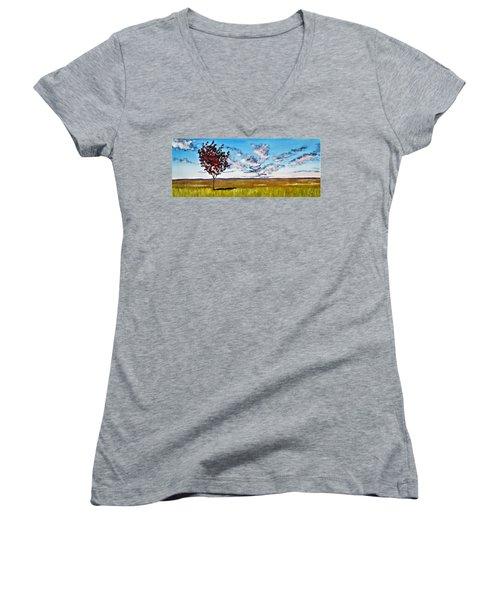 Lonely Autumn Tree Women's V-Neck T-Shirt