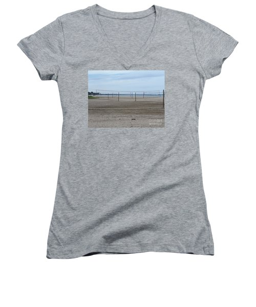 Lonely Beach Volleyball Women's V-Neck (Athletic Fit)