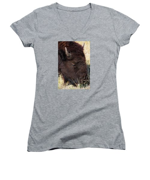 Lonely Bison Women's V-Neck T-Shirt (Junior Cut) by Janie Johnson