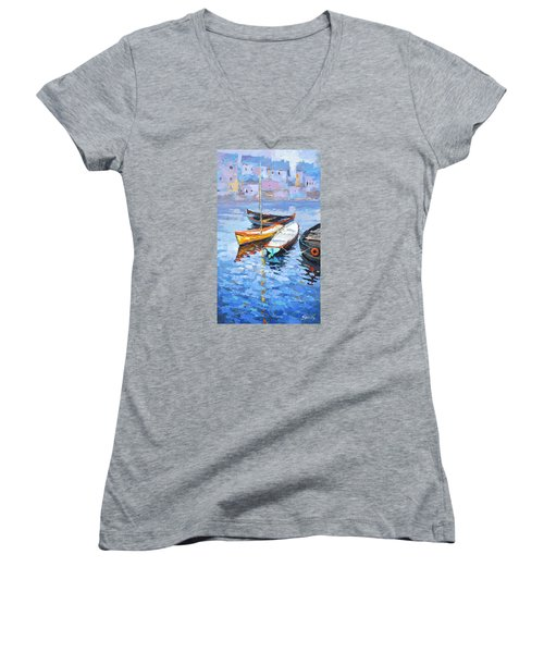 Lonely Boats  Women's V-Neck T-Shirt (Junior Cut) by Dmitry Spiros