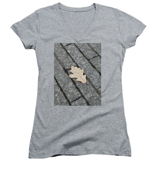 Lonely Leaf Women's V-Neck (Athletic Fit)