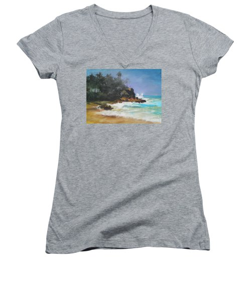 Lonely Sea Women's V-Neck T-Shirt (Junior Cut) by Rushan Ruzaick