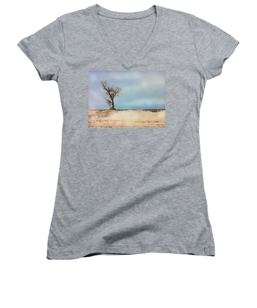 Women's V-Neck featuring the digital art Lonely Sentinel  by Shelli Fitzpatrick
