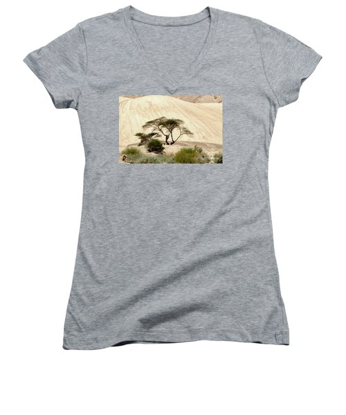 Lonely Tree Women's V-Neck T-Shirt (Junior Cut) by Arik Baltinester