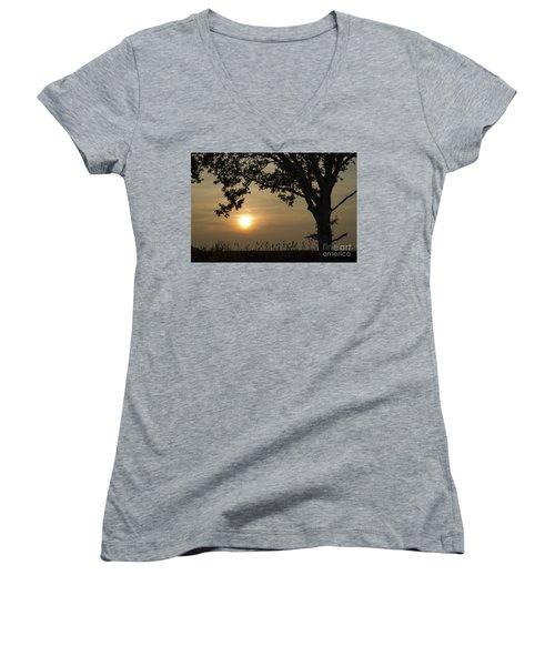 Lonely Tree At Sunset Women's V-Neck T-Shirt (Junior Cut) by Kennerth and Birgitta Kullman