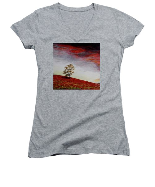 Women's V-Neck T-Shirt (Junior Cut) featuring the painting Lonely Tree by Judy Kirouac