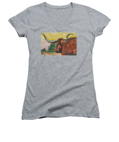 Lonesome Longhorn Women's V-Neck T-Shirt (Junior Cut) by Ron Stephens