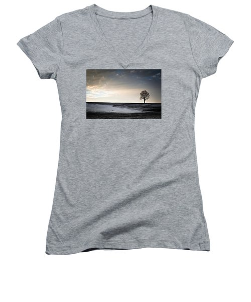 Lonesome Tree On A Hill IIi Women's V-Neck T-Shirt (Junior Cut) by David Sutton
