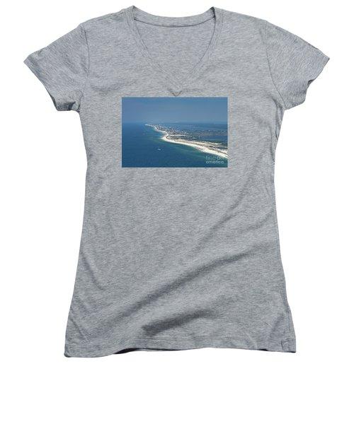 Long, Aerial, Beach View Women's V-Neck