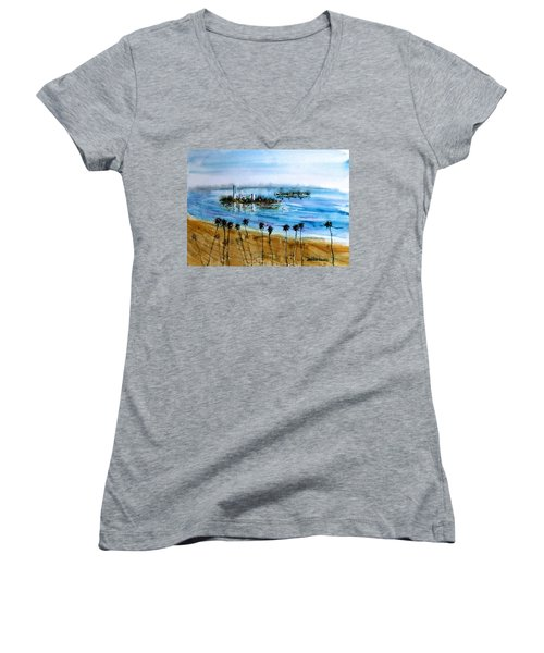 Long Beach Oil Islands Before Sunset Women's V-Neck T-Shirt (Junior Cut) by Debbie Lewis