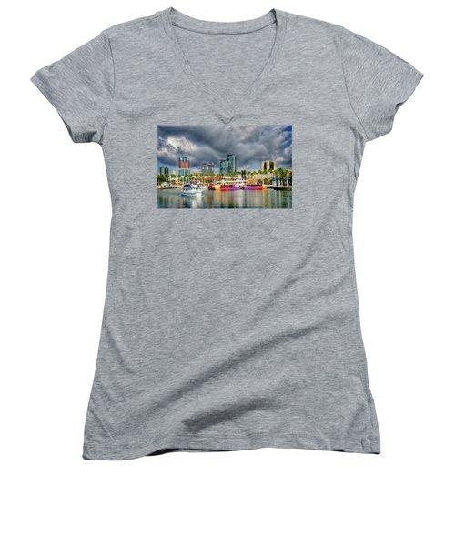 Long Beach Shoreline Marina Women's V-Neck T-Shirt