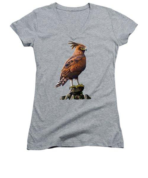 Long Crested Eagle Women's V-Neck (Athletic Fit)