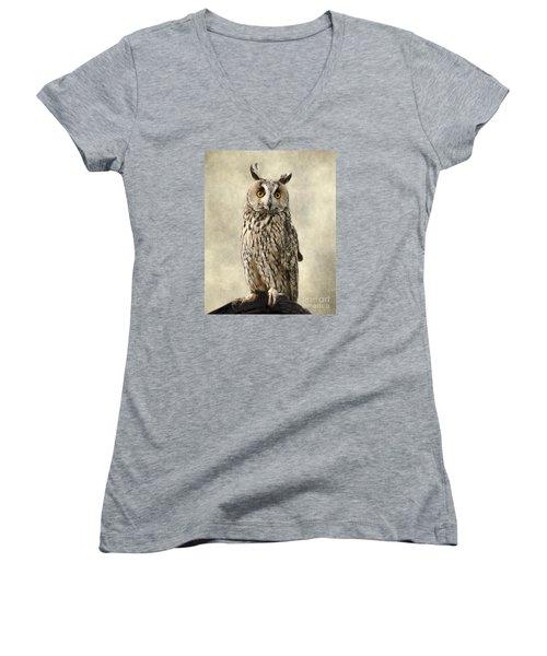 Long Eared Owl Women's V-Neck T-Shirt (Junior Cut) by Linsey Williams