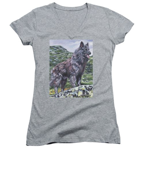 Women's V-Neck T-Shirt (Junior Cut) featuring the painting Long Hair Dutch Shepherd by Lee Ann Shepard