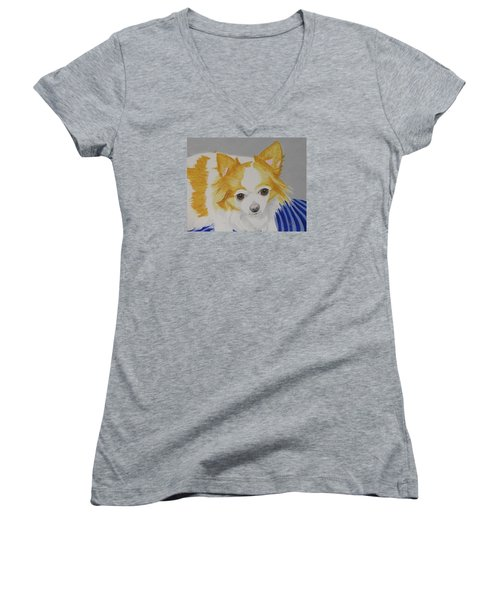 Women's V-Neck T-Shirt (Junior Cut) featuring the painting Long-haired Chihuahua by Hilda and Jose Garrancho