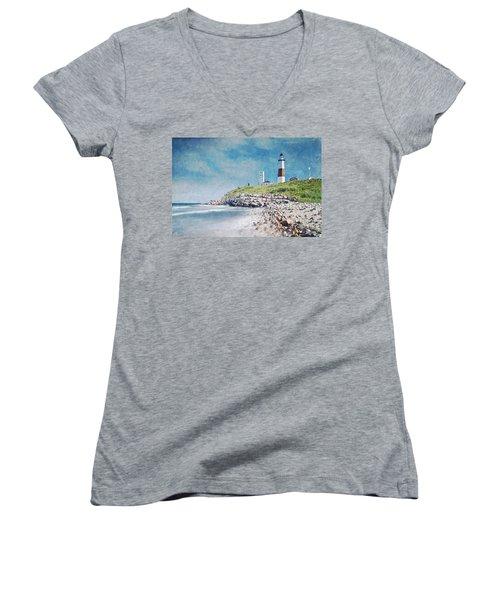 Women's V-Neck T-Shirt (Junior Cut) featuring the digital art Long Island Lighthouse by Kai Saarto