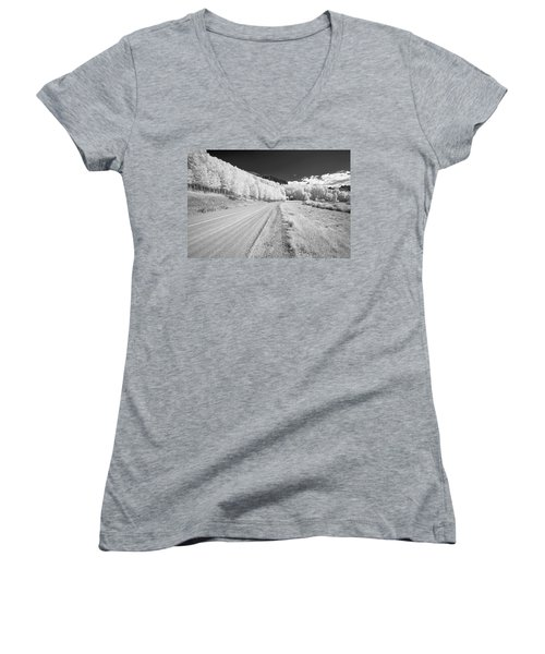 Women's V-Neck T-Shirt (Junior Cut) featuring the photograph Long Road In Colorado by Jon Glaser