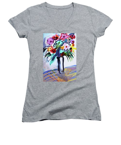 Long Vase Of Red Flowers Women's V-Neck T-Shirt (Junior Cut) by Amara Dacer
