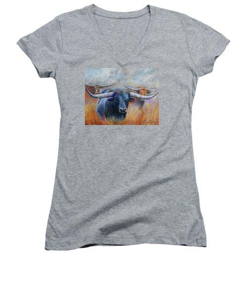 Longhorn Country Women's V-Neck T-Shirt (Junior Cut) by Karen Kennedy Chatham
