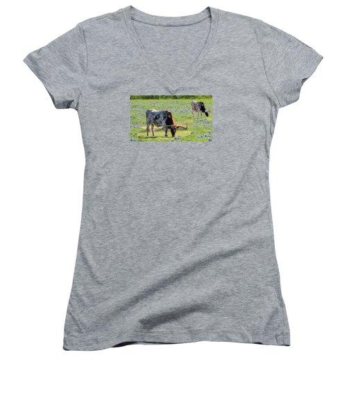 Longhorns In The Bluebonnets Women's V-Neck T-Shirt