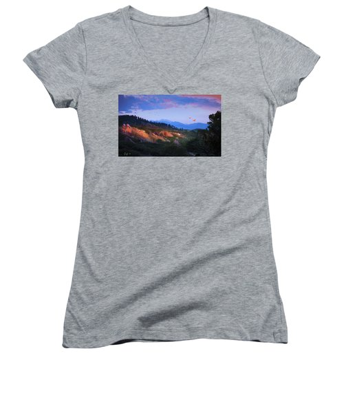 Longs Peak And Glowing Rocks Women's V-Neck T-Shirt (Junior Cut) by J Griff Griffin