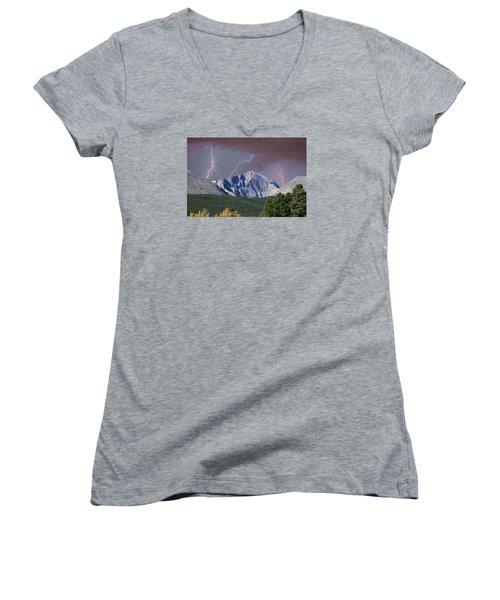 Longs Peak Lightning Storm Fine Art Photography Print Women's V-Neck (Athletic Fit)