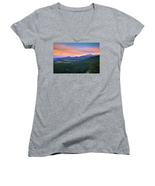 Longs Peak Sunset Women's V-Neck T-Shirt