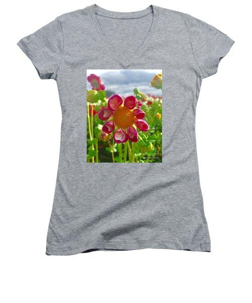 Look At Me Dahlia Women's V-Neck T-Shirt (Junior Cut) by Susan Garren