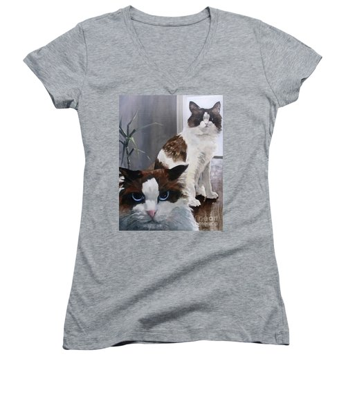 Women's V-Neck T-Shirt (Junior Cut) featuring the painting Look Who Is Grumpy Now by Diane Daigle